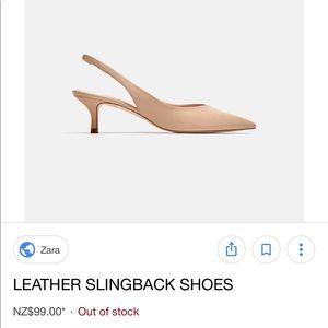 Zara Real Leather Slingback Kitten Heels in Ecru